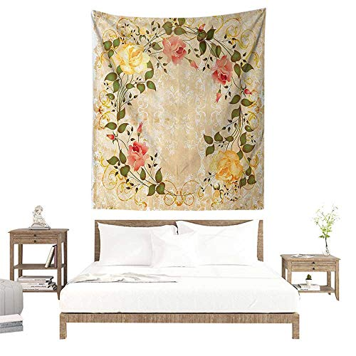 (Wall Hanging Tapestry,Vintage Decor,Oval Shape Floral Crown with Leaves and Roses Over Damask Motif Shabby Boho Decor,Yellow Green Pink W51 x L60 inch Picnic Throw Rug Blanket)