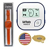 GolfBuddy Voice 2 Golf GPS Rangefinder (40k+ Preloaded Worldwide Courses) Bundle with Wrist Band and Magnetic Hat Clip Ball Marker (USA Flag)