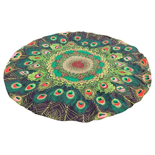 YJYdada Round Printing Hippie Tapestry Beach Picnic Throw Yoga Mat Towel Blanket (Green)