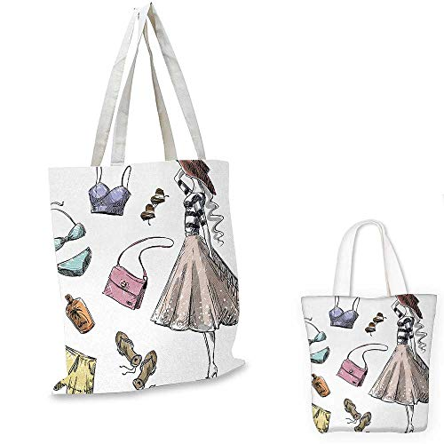 (Heels and Dresses royal shopping bag Collection of Summer Fashion Clothing and Accessories with Young Woman funny reusable shopping bag Multicolor. 16