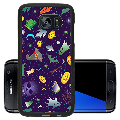 [Luxlady Premium Samsung Galaxy S7 Edge Aluminum Backplate Bumper Snap Case IMAGE ID: 43580710 Halloween seamless with traditional symbols icons Hand drawn doodle elements] (Cute Halloween Ghost Clip Art)