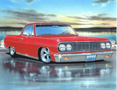 1964 Chevelle El Camino Classic Car Art Print Red 11x14 Poster