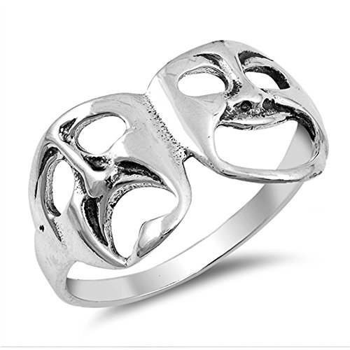Drama Masks Ring (Tragedy Mask Drama Theatre Smile Sad Ring .925 Sterling Silver Band Size 7)