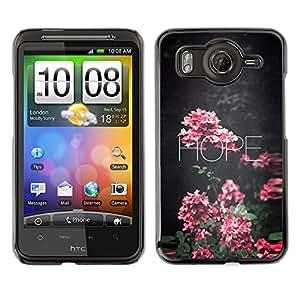 FlareStar Colour Printing Hope Floral School Teacher Pink Text cáscara Funda Case Caso de plástico para HTC Desire HD / inspire 4G / G10