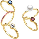 E 18K Gold Plated Shell Pearl Rings for Women, 5 PCS Womens Stackable Birthstone Ring Set, CZ Gemstones Cubic Zircon Rings