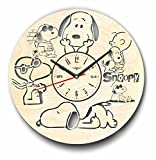 7Arts Snoopy Wooden Clock – Decorative Wall Clock Made from Eco Wood with Silent Quartz Movement and Autonomous Power Source – Can be Painted, Great Gift Idea For Sale