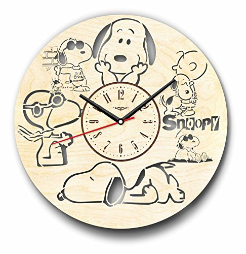 7Arts Snoopy Wooden Clock Decorative Wall Clock Made from Eco Wood with Silent Quartz Movement and Autonomous Power Source – Can be Painted, Great Gift Idea