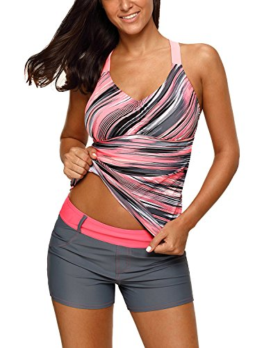 Jersri Women Tankini Tops,Multicolor Printed Strappy Racerback Swim Tops,Without Bottoms