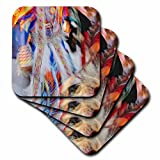 3dRose cst_91580_3 Native American Indian dance, Montana - US27 AJE0095 - Adam Jones - Ceramic Tile Coasters, Set of 4