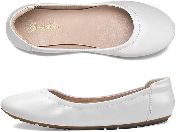 GENSHUO Womens Ballet Flats,Classic Round Toe Slip-On Ballet Flat Soft Comfortable Light Weight Ballerina Dress Work Walking Flats Shoes