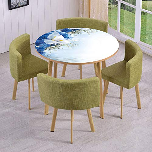 Dreamy Hydrangea (iPrint Round Table/Wall/Floor Decal Strikers,Removable,Blue Hydrangeas and White Irises Over The Sea Romantic Bouquet Dreamy,for Living Room,Kitchens,Office Decoration)