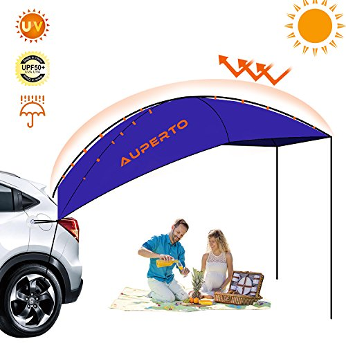 AUPERTO Camping Tent,3-4 Person Sun Shelter,Auto Canopy Camper,Portable Foldable Outdoor Tent,Waterproof, Anti-uv,Best for SUV, MPV, Hatchback, Minivan, Sedan (Dome Truck Tent)