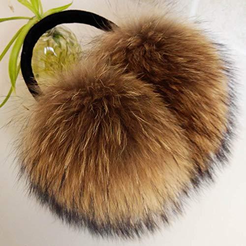 Fashion Outdoor Wearing Oversized Raccoon Fur Earmuffs Korean Real Fur Earmuffs Lovely Personality Plush Fur Ear Cover Warm