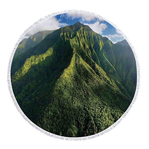 iPrint Thick Round Beach Towel Blanket,Apartment Decor,Aerial View of Jungle Forest on the Mountains Tropical Exotic Hawaii Nature Look,Green Blue White,Multi-Purpose Beach Throw by iPrint