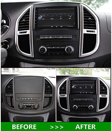 Domilay Accessories for Mercedes-Benz Vito W447 2014 2015 2016 2017 2PC ABS Middle Control Air Conditioning Panel Molding Cover Kit Trim