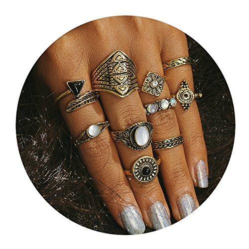 AMDXD 10 Pcs Rings Set for Women Cubic Zirconia Round Triangle Midi Ring Gold Bohemia Rings Set