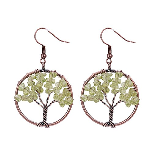 Olive Family Tree of Life Gemstone August Birthstone Wire Wrapped Crystal Earrings Handmade Fashion Jewelry for (Family Olive)