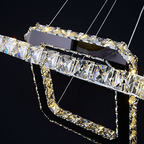 Dixun Modern Luxury LED Crystal Chandeliers Pendent Light Home Ceiling Lighting Fixture 20+30+40cm 3 Squares (Warm) by Dixun (Image #1)