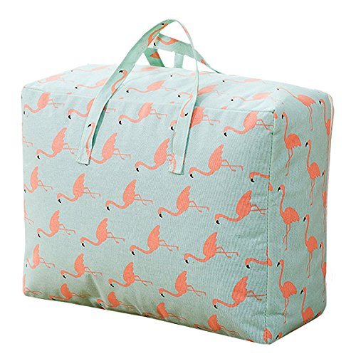Monique Print Cotton Linen Duffel Tote Extra Large Foldable Quilt Clothes Storage Bag Handbag Flamingo ()