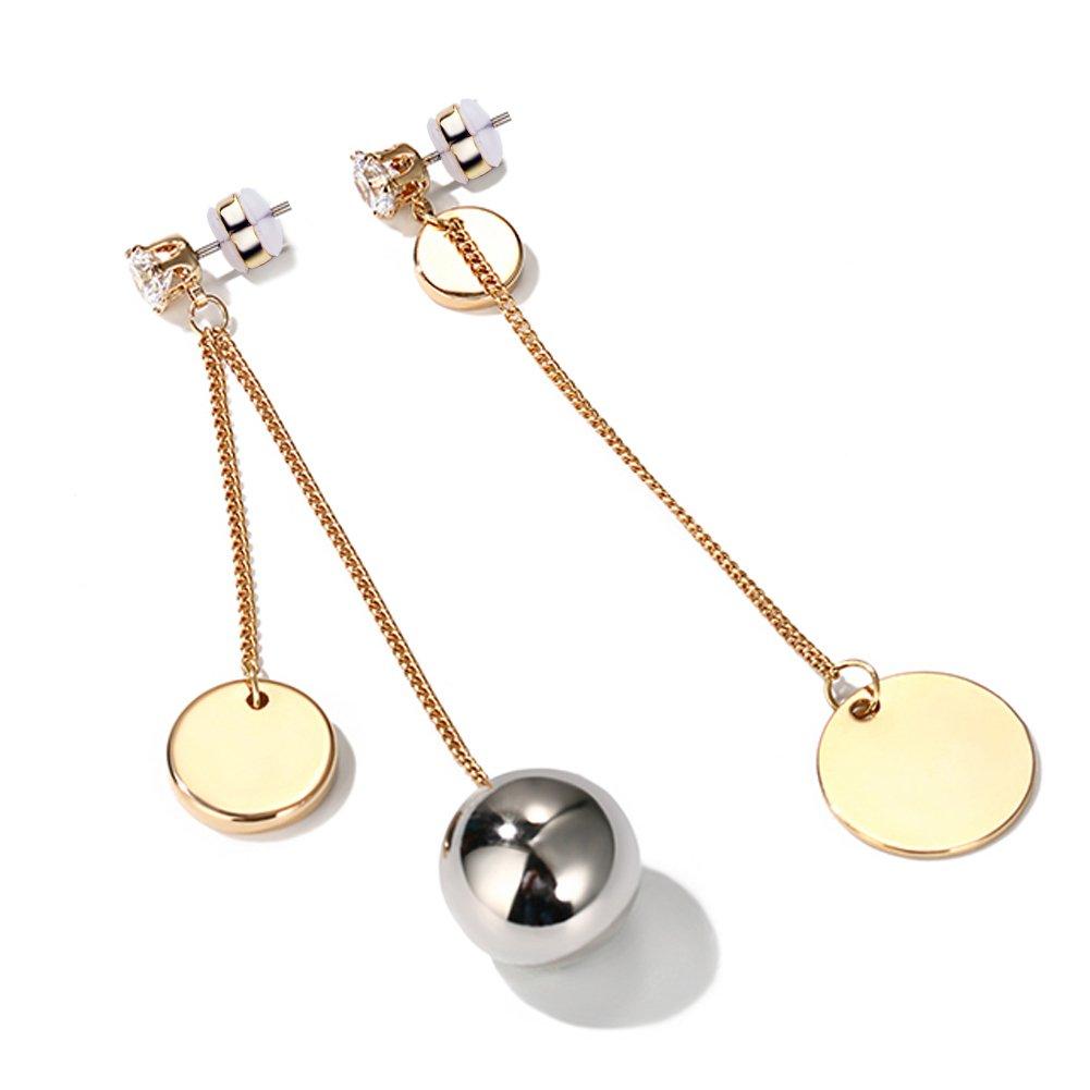 Earring for Women Alloy Circle Earrings Long Pendant Circle Ear Studs Asymmetric Earrings for Women
