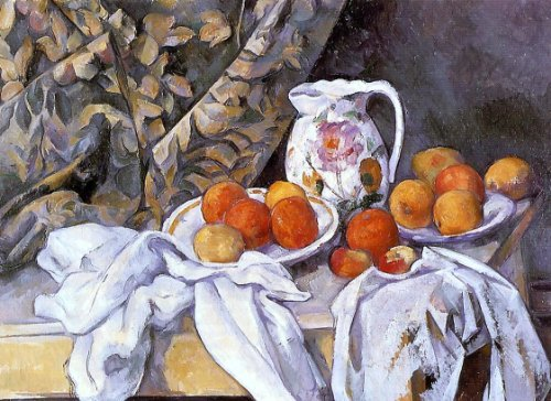 Art Oyster Paul Cezanne Still Life with Curtain and Flowered Pitcher - 21.05