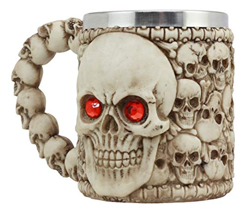 Ebros Ossuary Skeleton Heap Of Skulls Ghost Skull With Red Crystal Eyes Mug For Coffee Beverage Beer Tankard Macabre Decor Halloween Prop - Tankard Beer Crystal