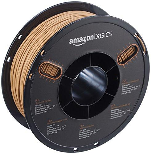 AmazonBasics PLA 3D Printer Filament, 1.75mm, Wood Color, 0.8 kg Spool