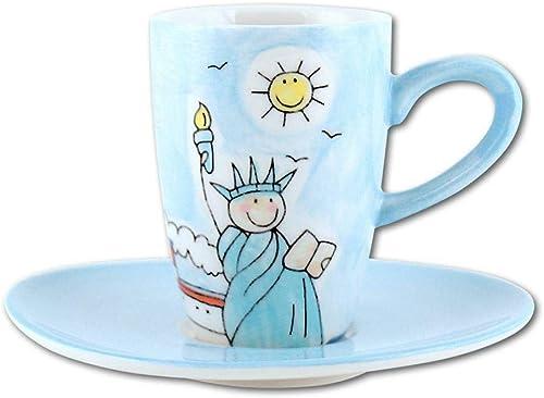 Keramik Espresso-Tasse, Unikat, handbemalt, mit Unterteller, New York