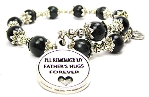 Cat Eye Cat Charm Bracelet - I'll Remember My Father's Hugs Forever Cat's Eye Wrap Charm Bracelet in Black