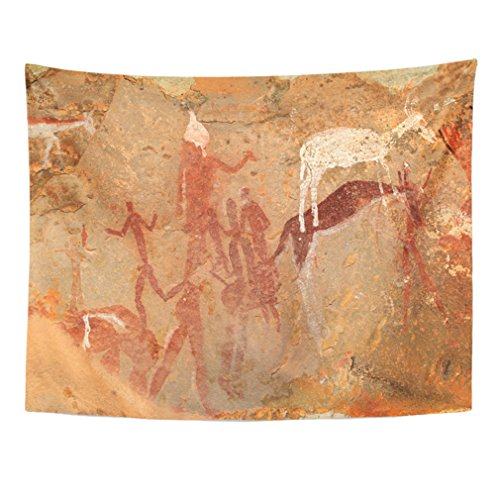 Emvency Tapestry Mandala 50x60 inch Home Decor Bushmen San Rock Painting Of Human Figures And Antelopes Drakensberg Mountains South For Bedroom Living Room Dorm by Emvency