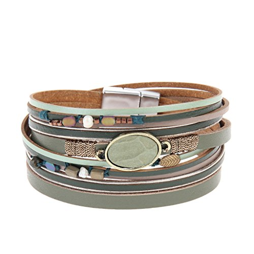 COOLLA Women Genuine Leather Vintage Colorful Beads Wrap Bangle Bracelet Pearl Pendant Magnet Buckle (Green) (Plastic Vintage Beads)