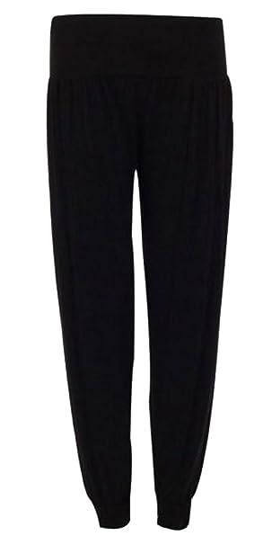 1916c81c3498 Womens Plain Long Ali Baba Harem Ladies Elasticated Gathered Waistband Baggy  Trousers Pants Full Length Leggings Plus Size  Amazon.co.uk  Clothing