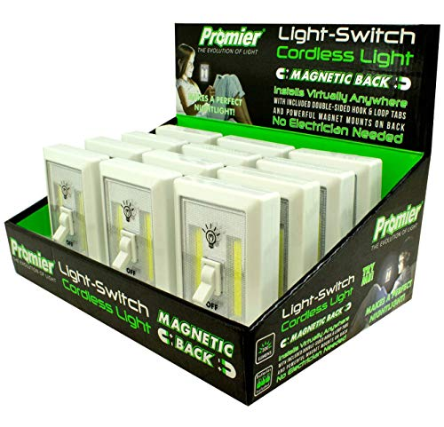 Promier Light Switch - Battery Operated, Cordless, Wireless Light - Super Bright COB LED Technology for Baby Nursery, Dark Hallways, Bedrooms, Closets, RV's. No Wiring (Batteries Included - 12 pack)