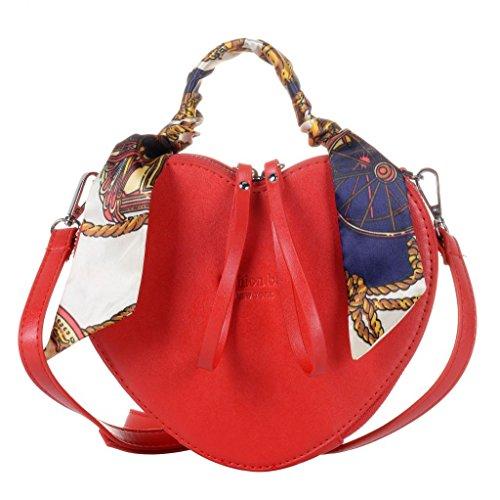 QZUnique Women's Heart Shape PU Leather Handbag Exquisite Shoulder Bag Silk Top Handbag Shoulder Bag, color red