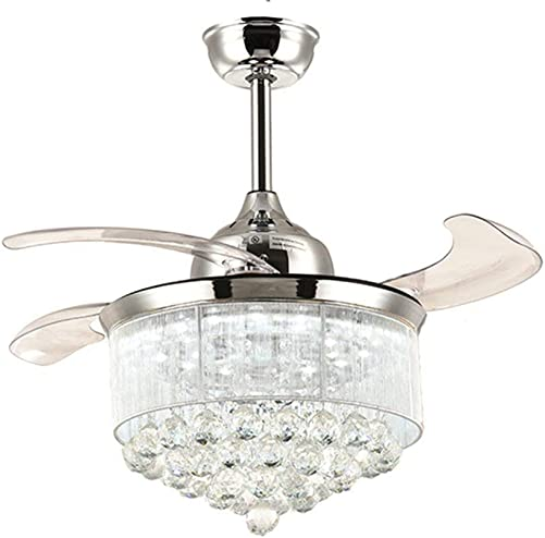 NOXARTE Crystal Ceiling Fan with Light Modern LED Dimmable Remote Control Fandelier for Bedroom Living Room 36 Inch