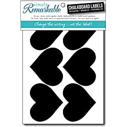 "Simply Remarkable Reusable Chalk Labels - 12 Heart Shape 3"" x 2.5"" Chalkboard Stickers Wipe Clean and Reuse Organizing, Decorating, Crafts, Personalized Hostess Gifts, Wedding and Party Favors"
