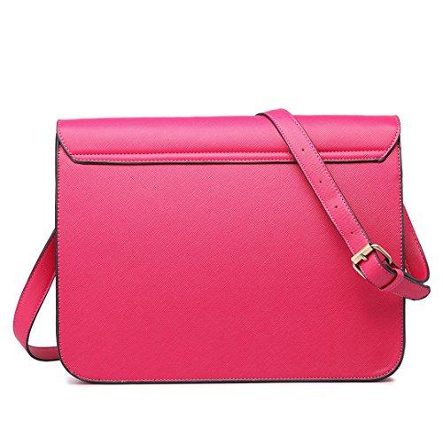 Bolso UKFS cartera estilo Leather Pink Hot Faux mujer para RqqdrwH7