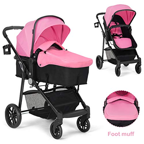 Best Review Of BABY JOY Baby Stroller, 2 in 1 Convertible Carriage Bassinet to Stroller, Pushchair with Foot Cover, Cup Holder, Large Storage Space, Wheels Suspension, 5-Point Harness (Pink)