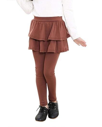 Pantalones De Falda para Niña Color Sólido Delgado Legging De ...