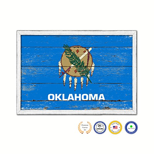 Oklahoma State Flag White Wash Wood Frame Cottage Farmhouse Shabby Chic Gifts Home Decor Wall Art Canvas Print, 7