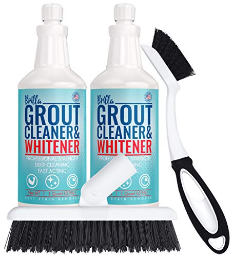 Grout Cleaner and Brightener: Deep Cleans Bathroom, Shower, Kitchen Tile Grout on Walls and Floor : 2 Quart Bottles, 2 Brushes : Stand Up Brush Scrubber and Small Handheld Brush Tool for Bath or Tub