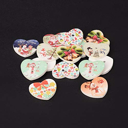 100x Assorted Christmas Printed Wood Beads Heart 2-Hole Sewing Scrapbook 21x25mm