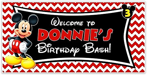 Mickey Mouse Birthday Banner Personalized Custom Party Backdrop Deoration -
