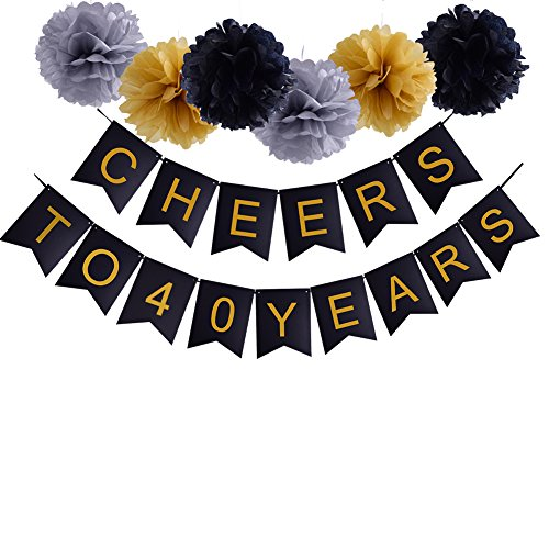 Happy 40th Birthday Cheers to 40 Years Banner For 40th Wedding Anniversary Party (40th Birthday Party Banners)