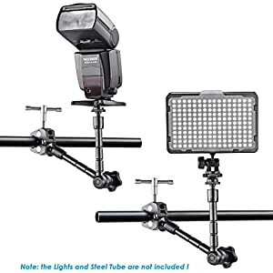 Neewer Adjustable Articulating Friction Magic Arm 11 inches/28 centimeters, Large Super Clamp Crab Pliers Clip and Hot Shoe Cradle Head Kit for DSLR Camera Rig, Monitor, LED Lights and Flash Light