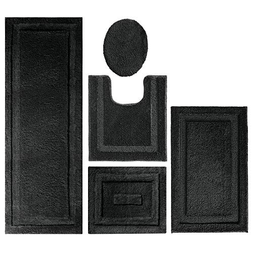 mDesign Soft Microfiber Polyester Bathroom Spa Rug Set - Water Absorbent, Machine Washable, Plush, Non-Slip - Includes 3 Rectangular Accent Rugs, Contour Mat, Toilet Lid Cover - Set of 5 - Black ()