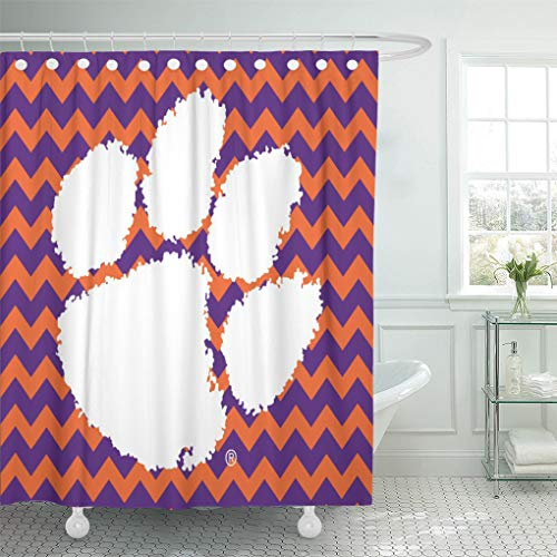 Semtomn Shower Curtain Football Clemson University Tiger South Carolina Territory Power Basketball 72