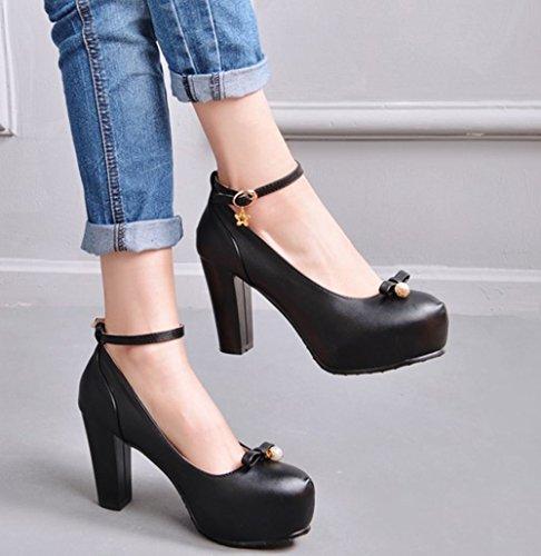 Mee Shoes Damen Blockabsatz inner Plateau runde Pumps Schwarz