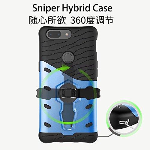 YHUISEN Híbrido resistente robusto escudo de armadura de doble capa protectora a prueba de golpes con 360 grados ajuste Kickstand cubierta de la caja para OnePlus 5T ( Color : Blue ) Black