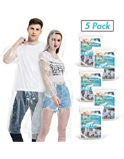 Disposable Rain Ponchos for Adults(5 Pack) | Emergency Drawstring Hood Poncho in Bulk | Extra Thick, Waterproof 0.035mm PE Plastic Material for Theme Park, Travel, Concerts, Camping